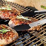 iNeibo Kitchen grillzange/küchenzange/servierzange/universal zange aus hochwertigem edelstahl und lebensmittelqualität silikon- (2er set- 23cm & 30,5cm) rutchfest & hitzebeständig mit intelligenten sicherungsclip. Perfekter küchenhelfer zum kochen, servieren, Grill, Buffet, salat, Eis, Ofen (Schwarz) - 7