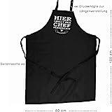 Hier grillt der Chef persönlich – Grillschürze, Kochschürze, Latzschürze mit verstellbarem Nackenband und Seitentasche – Grillkönig Edition - 3