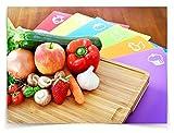 Sandford CUT Bambus Holz Schneidbrett | Schneidebrett Set mit 6 Schneidematten / flexible Kunststoff Matten | Lebensmittel wie Fisch / Gemüse / Geflügel separat schneiden | hygienisches Küchenbrett - 2