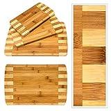 Relaxdays Schneidebretter Set 3 Größen mit Halter Küchenbretter aus Bambus gestreift Brettchen fürs Frühstück in modernem Design im praktischen Brettchenständer pflegeleicht und messerschonend, natur - 6