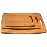RSW24 Premium Schneidebretter Set 3 Größen aus Bambus, L: 38 x 28 cm, M: 32 x 21 cm, S: 24 x 18 cm , Brettchen fürs Frühstück in modernem Design pflegeleicht und messerschonend - 3