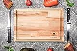 Schneidebrett Holz Gross | Schwebe-Effekt | 34x25x1,7cm mit Saftrille | Antibakterielles Frühstücksbrett aus Europa - 5