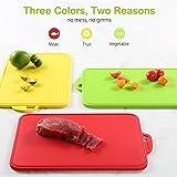 Zanmini Schneidebrett Hackbrett Küchenbretter Frühstücksbretter Brotbrett Set (3PCS), Essbares PP-Material, Rutschfeste Schneidematte in Rot Gelb Grün - 2